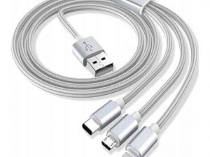 KABEL 3w1 MICRO USB USB-C IPHONE LIGHTNING TYP-C