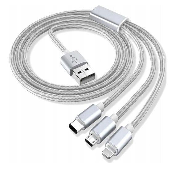KABEL 3w1 MICRO USB USB-C IPHONE LIGHTNING TYP-C