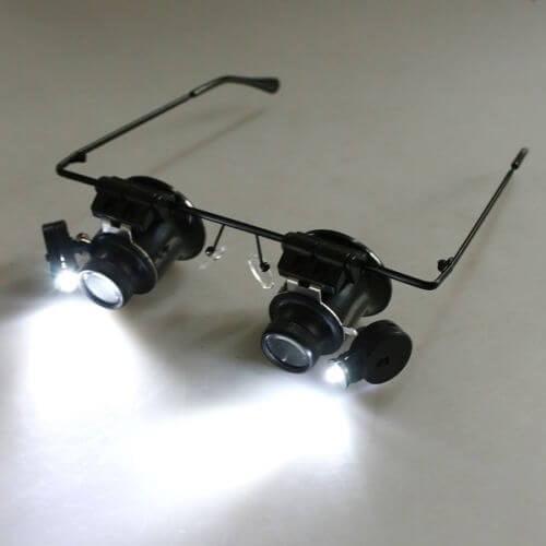 OKULARY LUPA ZEGARMISTRZOWSKA MOCNA LED 20x 15mm