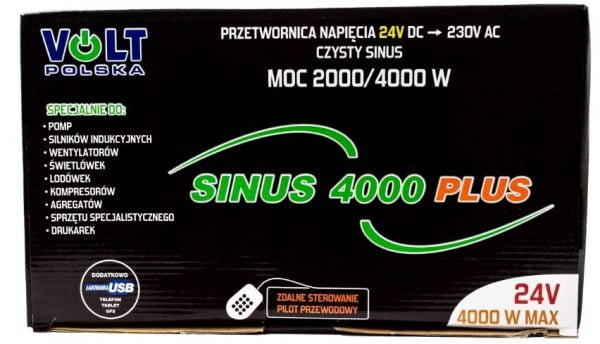 PRZETWORNICA INWERTER 12V 230V 4000W SINUS VOLT PL