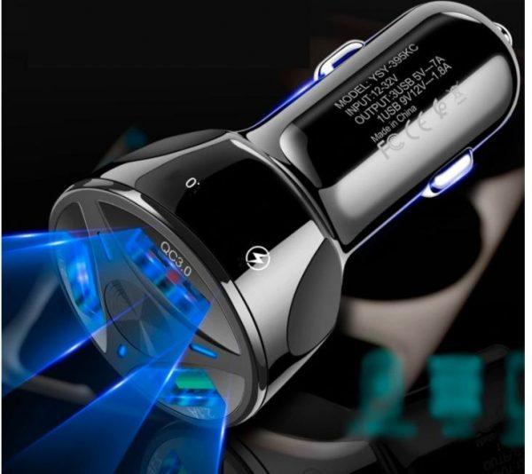 ŁADOWARKA SAMOCHODOWA 3x USB QC SZYBKA LED 3.0