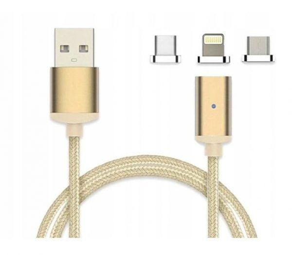 KABEL MAGNETYCZNY 3w1 2.4A USB MICRO IPHONE TYP-C