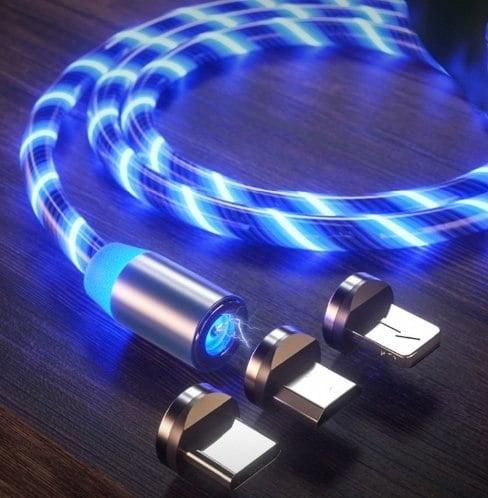 KABEL MAGNETYCZNY 3w1 USB MICRO IPHONE TYP-C LED