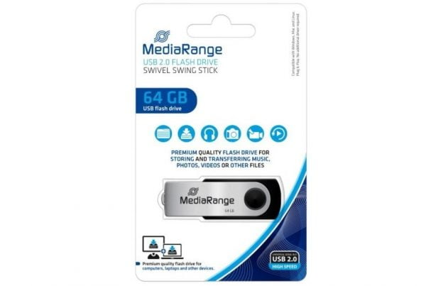 MEDIARANGE PENDRIVE USB 2.0 64GB FLASH TWISTER
