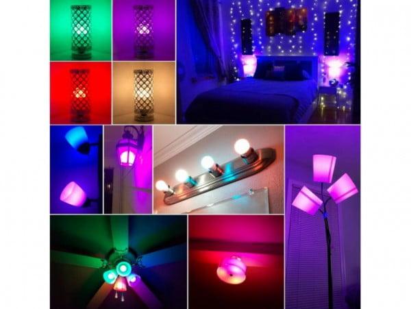 ŻARÓWKA LED RGB KOLOROWA 16 KOLORÓW E27 3W + PILOT